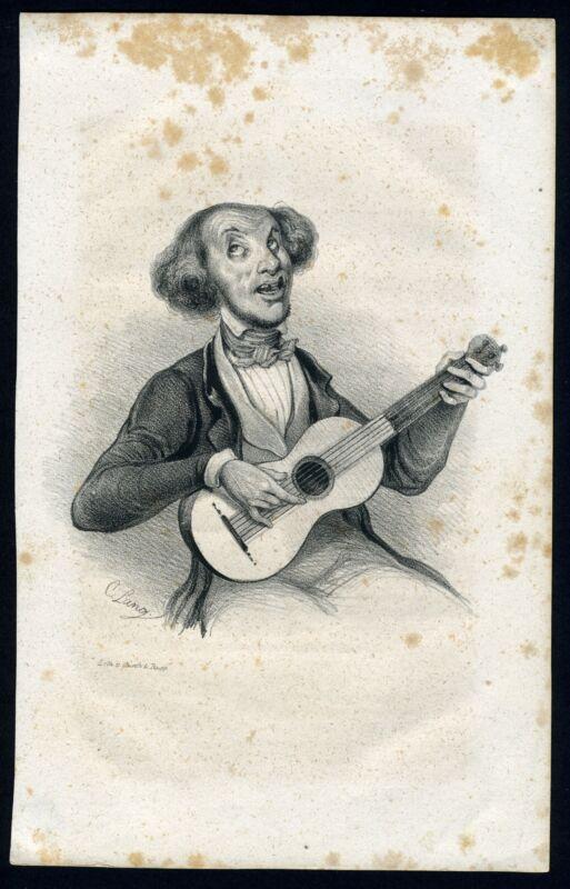 Original Engraving of a Guitarist after C. Lang