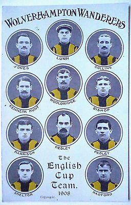 WOLVERHAMPTON WANDERERS F.A CUP WINNING TEAM 1908 – FOOTBALL POSTCARD