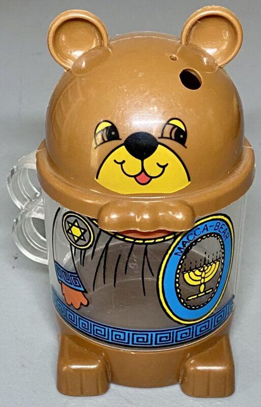 Vintage Jewish Macca-Bear Figural Children's Straw Cup Star David Menorah
