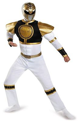 Mighty Morphin Power Rangers White Ranger Muscle Costume XL 42-46 New Men Adult  - White Mighty Morphin Power Ranger Costumes Adults