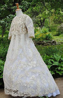 ANTIQUE DRESS GOWN 1910 - 1914  PROMENADE LACE APPLIQUES MUSEUM  DE-ACCESSIONED