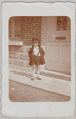 Weird Vintage Real Photo PC - Sassy Little Boy Posing With Fake? Cigarette