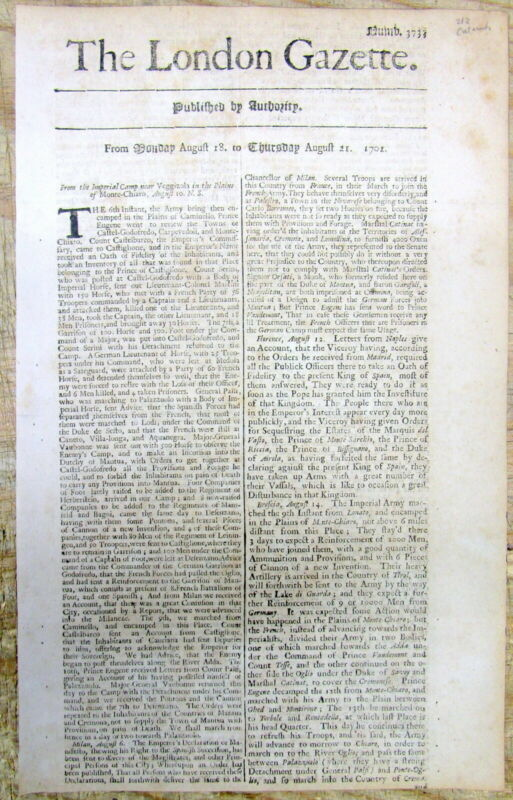 1701 London Gazette newspaper with AD Early Medical CATARACT SURGERY Opthamology