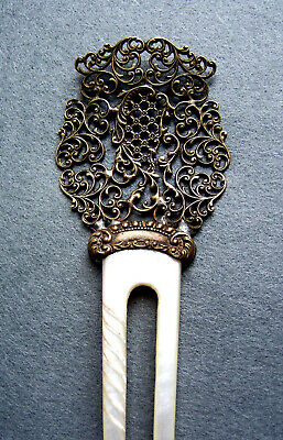 Victorian Wigs, Hair Pieces  | Victorian Hair Jewelry Late Victorian hair comb mother of pearl and pierced brass hair pin $200.00 AT vintagedancer.com