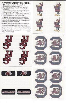 GAMECOCK TEMPORARY FACE TATTOOS SET OF 5 SHEETS  6 DESIGNS 4 PER SHEET - Gamecock Tattoos