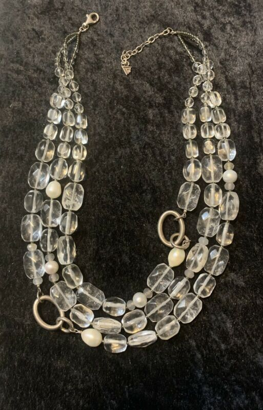 Vintage Silpada Sterling Silver, Quarz, Crystal & real Pearls 3 strand Necklace.