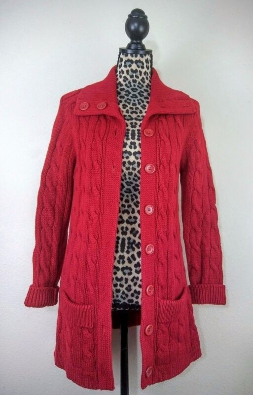 Vintage 100% Shetland Wool Sweatercoat Duster Red Cable Knit Medium Unworn