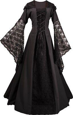 Mittelalterliches Gotik Karneval Halloween Kleid Kostüm Eloise Schwarz XS-60 ()