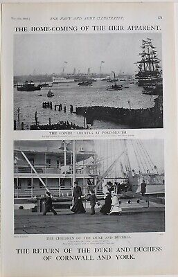 1901 PRINT HOME COMING DUKE & DUCHESS OF CORNWALL YORK OPHIR ARRICING PORTSMOUTH