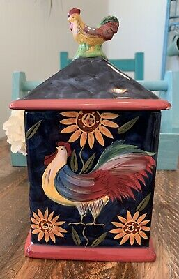 "Sunrise Rooster (Susan Winget Sunrise Rooster Certified International 10 3/4"" Tall Large Canister )"