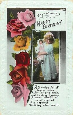 Best wishes for a happy birthday girl & doll rose poem poetry greetings