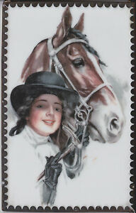 HARRISON-FISHER-THOROUGHBREDS-HORSE-AND-WOMAN-UNIQUE-CERAMIC-ARTIST-POSTCARD