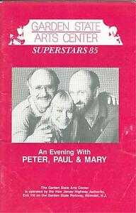 An Evening With Peter Paul And Mary 1985 Program Garden