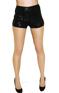 HIGH WAISTED BLACK SEQUIN SHORTS HOT PANTS GOING OUT CLUBBING DRESS SIZE 4-16
