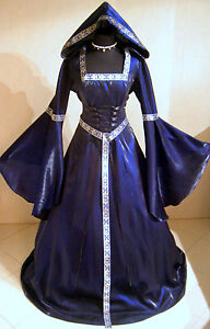 MEDIEVAL-WEDDING-DRESS-GOTHIC-10-12-14-S-M-BLUE-WITCH-RENAISSANCE-ROBE-38-40-42