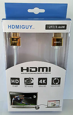4K HDMI Cable 12 foot white/gold retail box - 12 Foot