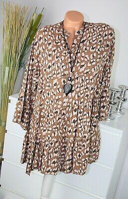 ITALY MODA Kleid LEO Motiv Kurz Dress TOP Shirt Bluse COGNAC Gr....