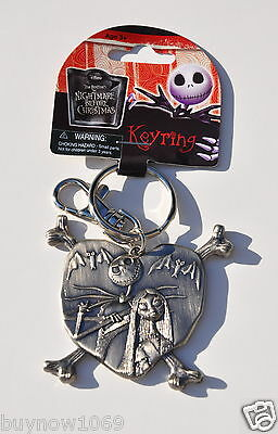 DISNEY THE NIGHTMARE BEFORE CHRISTMAS JACK AND SALLY KEYCHAIN PEWTER KEY RING  - Jack Nightmare