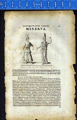 Roman Goddess Minerva and the Virgin Goddess Diana -Lorenz Beger, 1696 Engraving