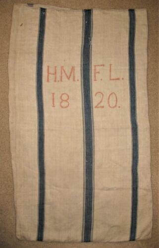 """Hand Woven Linen Grain Sack Hemp Textile H.M. F.L. 1820 Antique 49"""" x 29"""""""