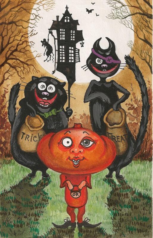 HALLOWEEN PRINT OF PAINTING RYTA BLACK CATS VINTAGE FOLK ART STYLE MOON JOL BAT
