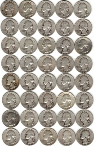 40 Washington Silver Quarter Roll (1941-64)