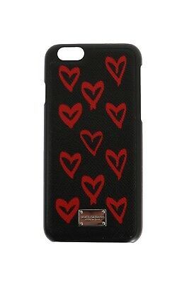 NEW $200 DOLCE & GABBANA Phone Case Black Heart Print Dauphine Leather iPhone6