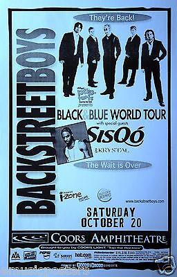 Backstreet Boys Sisqo Black Blue World Tour  2001 San Diego Concert Tour Poster