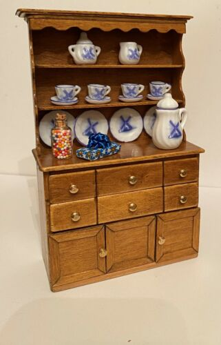 Dollhouse miniatures artisan made hutch/cupboard with extras, 1:12