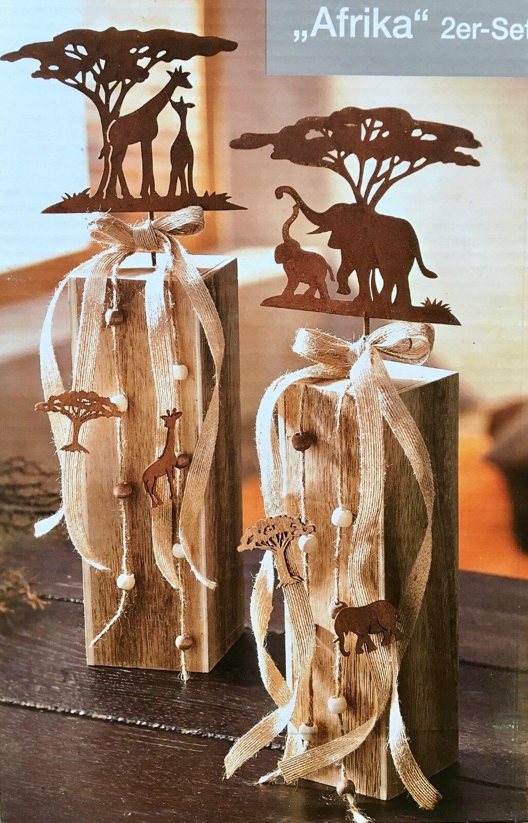 2 Dekosäulen Afrika NEU mit Elefant + Giraffe Metall und Holz