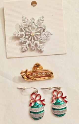 Jewelry 2 Christmas Winter Pins or Brooch 1 pair Christmas Earrings Holiday New