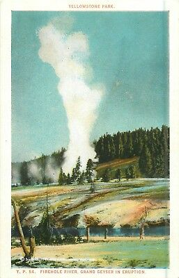 Y.P. 54 Firehole River, Grand Geyser In Eruption, Yellowstone Park Postcard
