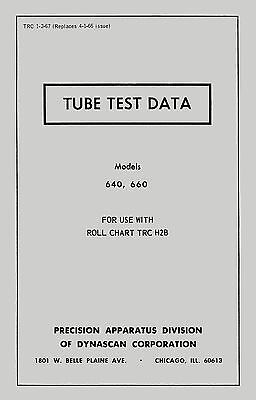 1967 Precision Supplementary Tube Test Data For 640 And 660 Tube Testers