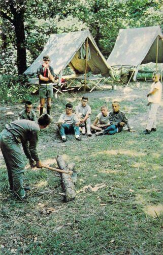 NE Cedar Bluffs CAMP CEDARS Chop Wood Boy Scouts of America 1966 postcard B6