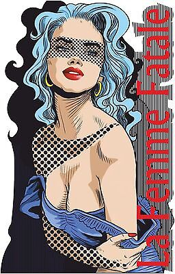 POP ART T SHIRT LA FEMME FATALE CLASSIC AMERICANA LICHTENSTEIN PIN UP GIRL TOP
