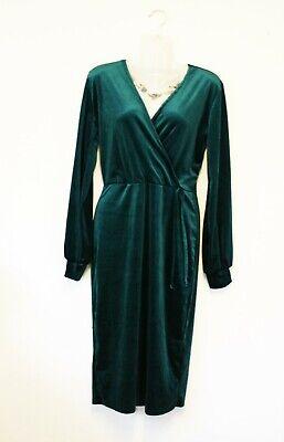 BOOHOO velvet green long sleeve velvet midi bodycon dress - 14 - Retro pin-up