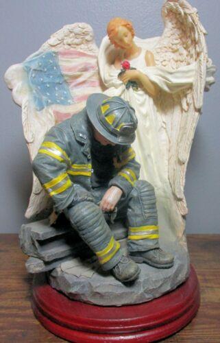 2001 Roman, Inc. FIREMAN and ANGEL Resin Statue w/Wood Base