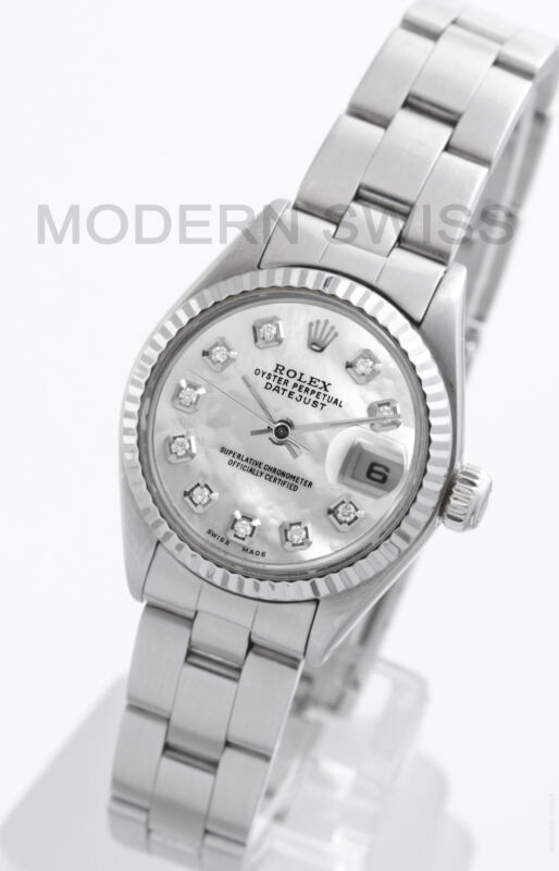 Rolex Ladies Datejust Steel White Mop Diamond Gold Fluted Oyster Perpetual 2yr