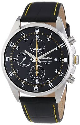 Seiko - SNDC89P2 - Men's Watch - Quartz Chronograph - Black Dial - Black Leat...