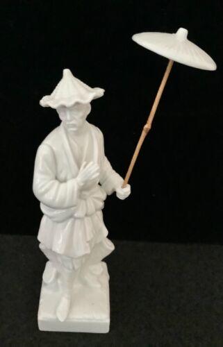 Vintage Fitz and Floyd Oriental Man With Parasol White Porcelain Figurine 81/2''