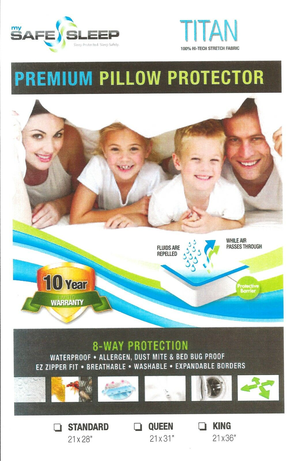 BED BUG Pillow Protector Cover ZIPPERED & WATERPROOF Dust Mi