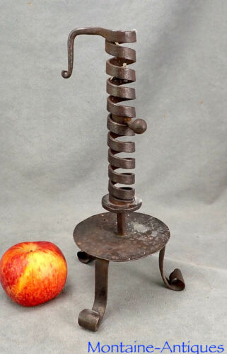 Large footed Wrought Pushup Candlestick 18th cent