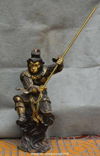 88CM China Bronze Gilt Xiyouji Qitian Dasheng sunwukong Monkey King statue