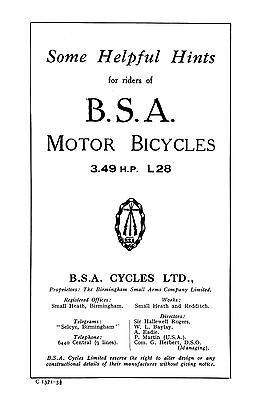 (0214) 1928 BSA 3.49hp L28 instruction book