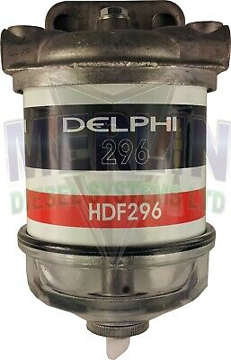 UNIVERSAL SINGLE DELPHI DIESEL FUEL FILTER ASSEMBLY WITH GLASS BOWL 1/2 INCH