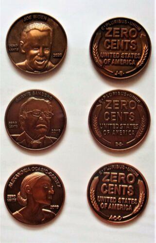 Joe Biden, Bernie Sanders Alexandria Ocasio Cortez AOC ZERO CENTS Coin U.S. gold