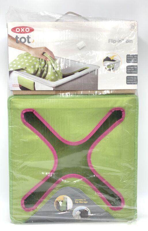 Oxo Tot Flip-In Flex Lid Hamper- Green/Pink
