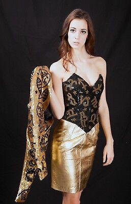 North Beach Leather Versace Sternzeichen Pailletten Bustier Kleid Sz 3/4 $ 3000