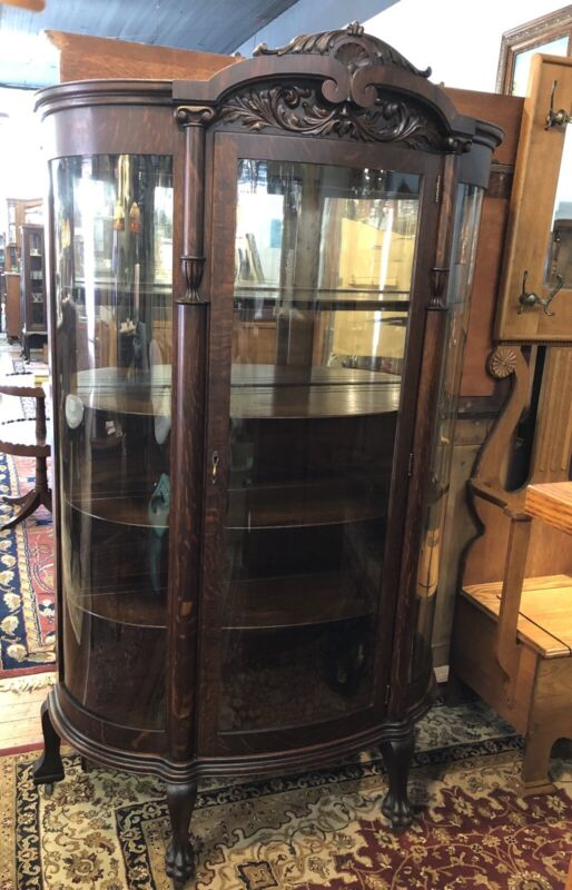 Antique Oak China Curio Cabinet Original Curved Glass In Door & Sides