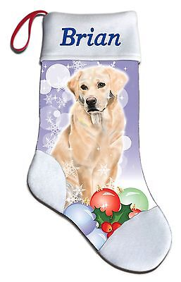Personalized Golden Yellow Lab Labrador Dog Christmas Stocking Embroidered  for sale  Shipping to India